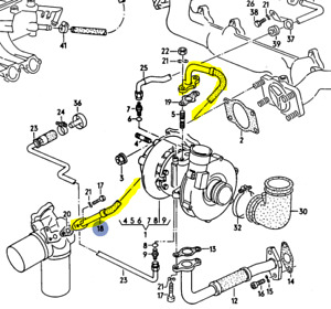 Audi 200q 3b 5 Cylinder 1991 Oil Feed Line To Turbo Charger 034133771