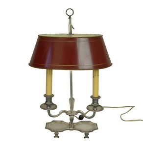 Antique Silver Plate Bouillotte Table Lamp With Red Tole Shade