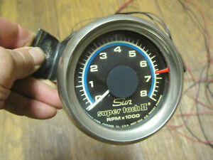 Vintage Sun Super Tach Ii 2 Model Cp 7901 Tachometer Gauge 8000 Rpm Hot Rat Rod