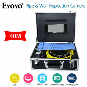 40m Pipe wall Sewer Snake Inspection Camera Kit 7 lcd Color Monitor Dvr keyboard