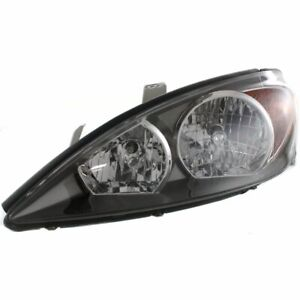 Headlight For 2002 2004 Toyota Camry Left Halogen Clear Black Interior With Bulb
