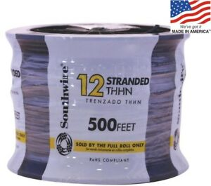 Electrical Thhn Wire Building 500 ft 12 awg Stranded Black Copper By the roll
