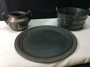 Vintage Meriden B Co Silver Plate 2 Pot Container No 824 37 Plate 10 No 4568