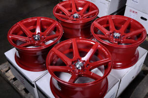 15 Wheels Fit Spectra Corolla Prius Cobalt Lancer Civic Accord Red Rims 4 Lugs