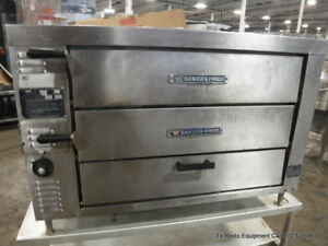 Bakers Pride Gp61 Gas Used Double Deck Pizza Oven On Legs