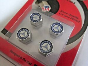 New Mercedes Benz Vintage Logo Set 4 Chrome Tire Valve Stem Caps Us Seller