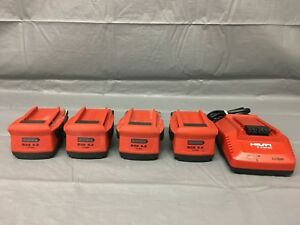 Used 4x Hilti B 22 5 2 21 6v 5 2ah Li ion Battery With C 4 36 90 Charger