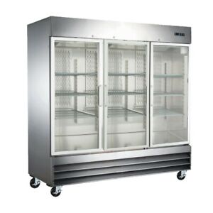 Peakcold Three Door Glass Front Stainless Steel Commercial Refrigerator
