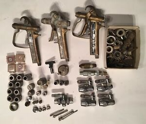 Graco Hydra spray Paint Sprayer Golden Gun Bronze Vintage Tips Nozzles Part Lot