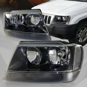 For 1999 2004 Jeep Grand Cherokee Black Housing Headlights W Clear Reflector