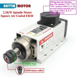 Square 2 2kw Air Cooled Spindle Motor Er20 24000rpm 400hz For Cnc Router Machine