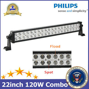 22inch 120w Philips Led Light Bar Spot Flood Combo Lamp Driving Truck Ford Boat