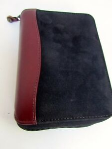 Franklin Covey Compact Black Suede Brown Leather Binder Planner 6 Ring 1 25 Zip