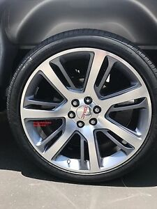 22 Cadillac Escalade 1500 Wheels Tires Silverado Sierra Grey Machine Rims Gmc