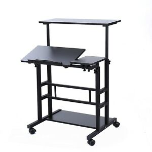 Unicoo Adjustable Sit Stand Workstation Mobile Standing Desk U101 Black