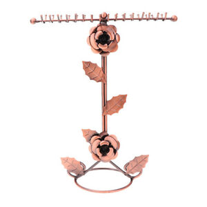 Bronze Rose Flower Metal Jewelry Rack Plated Necklace T type Display Stand