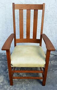 Vintage Signed Limbert Arts Crafts Mission Tall Chair Tiger Oak Armchair
