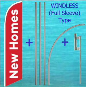 New Homes Windless Banner Flag Pole Mount Kit Tall Curved Feather Banner Sign