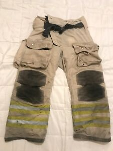 Lion Janesville Firefighter Turnout Gear Bunker Pants W Liner And Belt 34 X 28