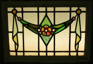 Mid Size Old English Leaded Stained Glass Window Nice Floral Sweep 27 5 X 19 5