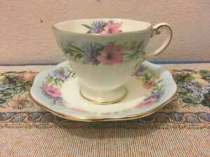 Vintage Foley Bone China Made In England Cup Saucer 2845 Cornflower