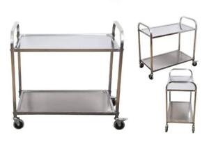 Stainless Steel 2 shelf Utility Service Storage Cart For Restaurant Catering