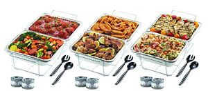 32 pc Chafer Warming Set Holds 8 Dishes Wire Stands Aluminum Pans Ster