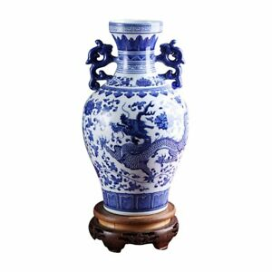Ufengkeblue And White Porcelain Binaural Dragon Vase