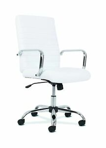 Hon Sadie Executive Computer Chair Fixed Arm For Office Desk White Leather