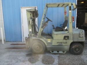 Hyster H40xm Diesel Forklift 4000lbs Capacity W Side Shift Pneumatic Tires