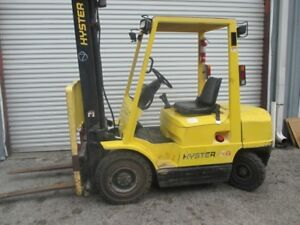 Hyster H50xm 5000lbs Diesel Forklift Solid Pneumatic Tires Side Shift 2 Stage Ma