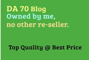 Provide Da 70 Guest Post Backlink On A 6 Year Old Rare Blog with 2 Backlinks