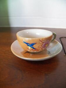 Vtg Tea Cup And Saucer China Hand Painted Birds Flowers Japan