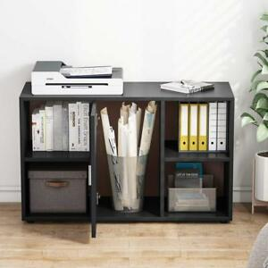Black File Cabinet With Door Storage Cabinet And 4 Open Cubes For Home Office Us