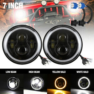 2x 7 Cree 160w Round Led Headlight halo Drl Light For Jeep Wrangler Jk Tj 97 18