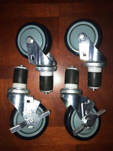 4 Caster Wheel Set For Stainless Steel Commercial Kitchen Prep Tables 2 Locking