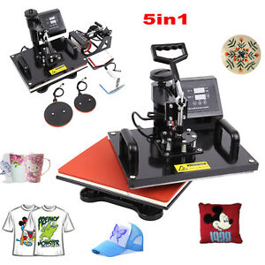 5in1 12x15 Heat Press Machine Swing Away Sublimation T shirt Mug Plate Hat Diy