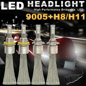 Cree Fanless H11 H8 Hb3 9005 21600lm Car Led Headlight High Low Beam Kit Us Ea