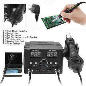 750w Lcd 2 In 1 Soldering Iron Rework Stations Hot Air Desoldering Heater 220v