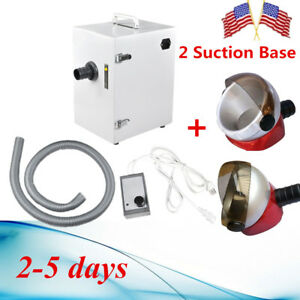 370w Digital Single row Dust Collector Dental Lab Vacuum Cleaner 2x Suction Base