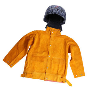 Welding Coat Leahter Cowhide Jacket And Welding Protective Hat Cap