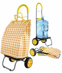 Trolley Dolly Basket Weave Tote Yellow Shopping Grocery Foldable Cart Picnic