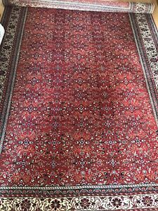 True Vintage Antique Turkish Oriental Rug Large Hand Made Red Wool 6x9 Rectangle