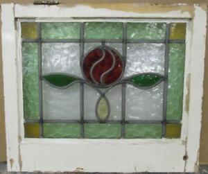 Old English Leaded Stained Glass Window Gorgeous Bordered Floral 21 25 X 18 25