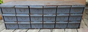 18 Drawer Metal Organizer Vintage Industrial Cabinet Steel Nut Caddy Equipto