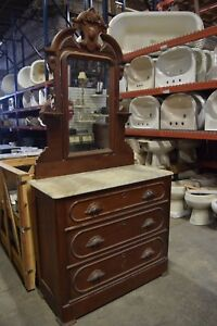 Vintage Marble Top Vanity Dresser With Mirror