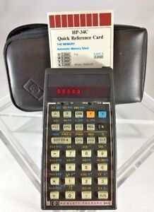 Hp 34c Hewlett Packard Calculator W Case Reference Card works free Ship D27