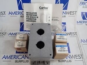 Carlon 2 Hole Pushbutton Box W 10250t102 10250t103 Buttons And Bases New