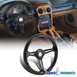 Universal 2 Dark Force Black Spoke 350mm Sport Racing Wooden Steering Wheel 1pc
