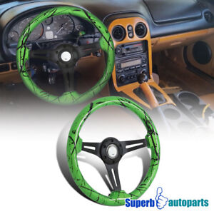 Universal 2 Watermelon Green 350mm Black Spoke Racing Wooden Steering Wheel 1pc